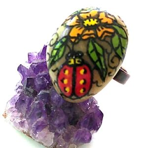OOAK VINTAGE HandPainted Ladybug Flower Stone Ring